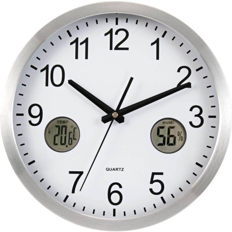 Analógové hodiny s digitálnym teplomerom a vlhkomerom