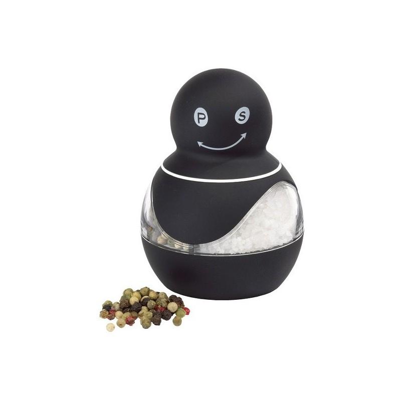 Dvojitý mlynček na korenie a soľ panáčik s úsmevom
