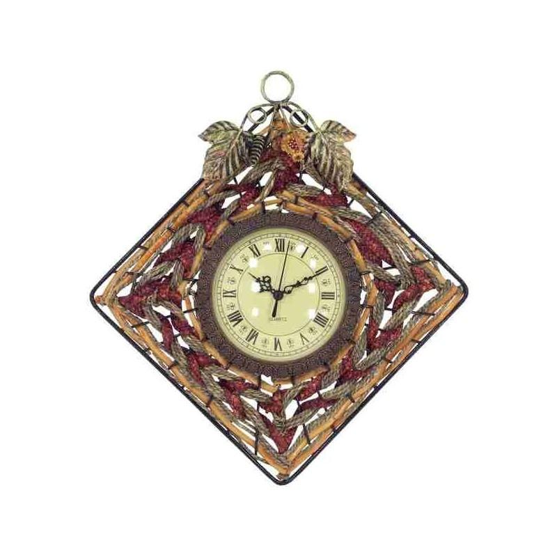 Tradičné hodiny do kuchyne z prútia a kovu