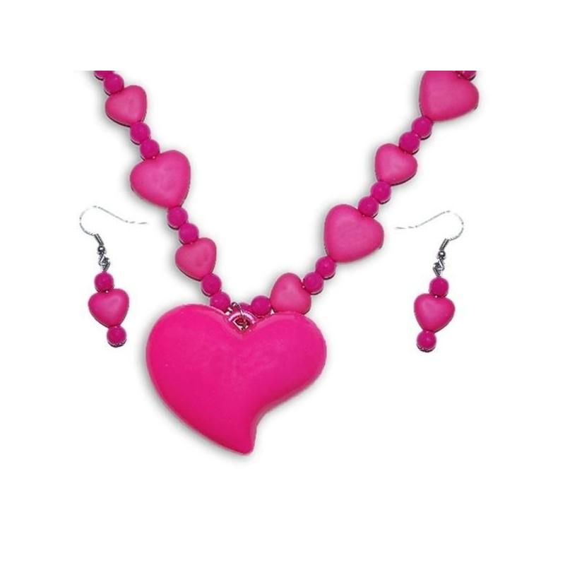 Náhrdelník s náušničkami v tvare srdiečka - ružový