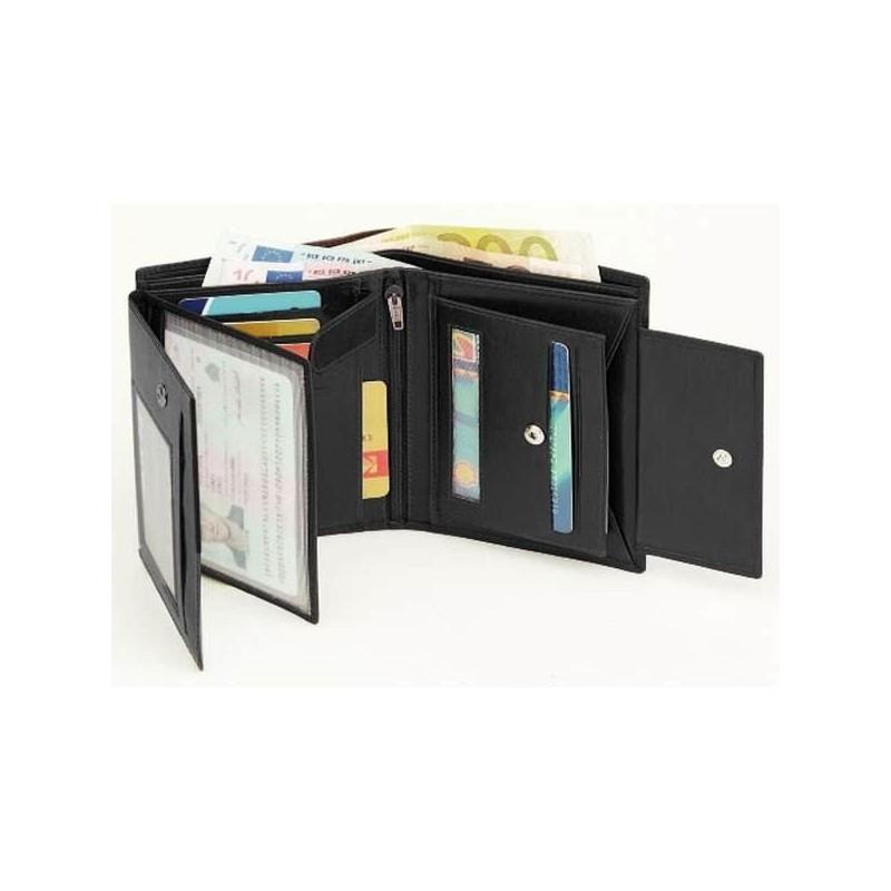 Kožená pánska peňaženka - čierna