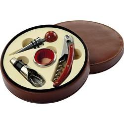 Hnedá kruhová súprava s pomôckami na servírovanie vína