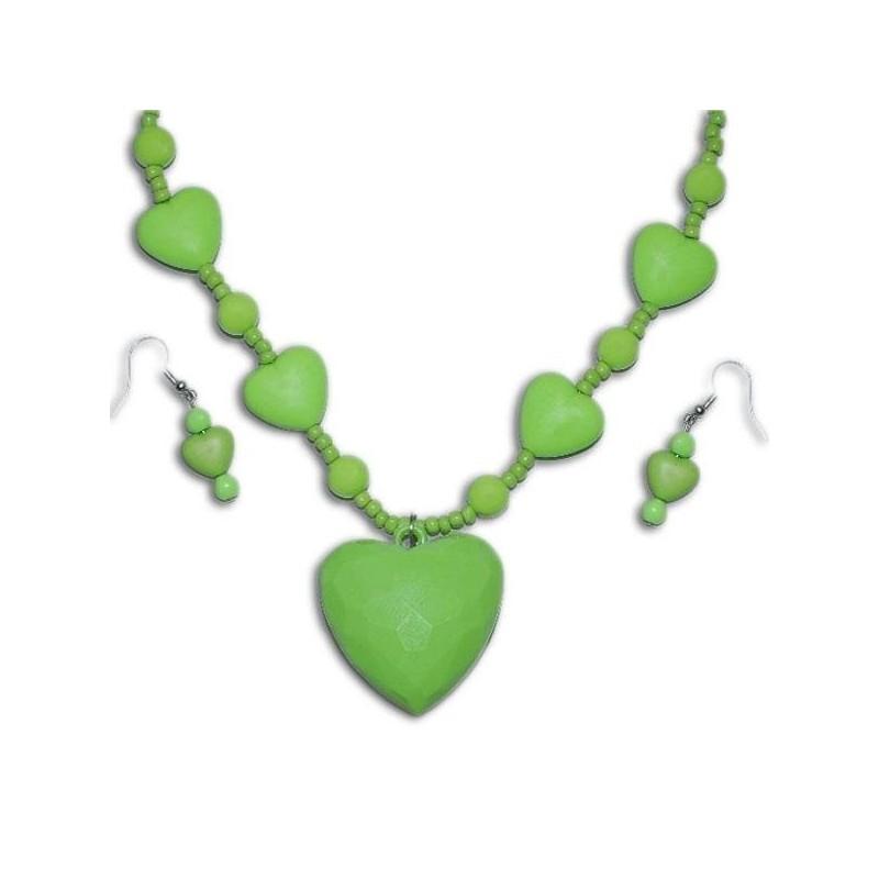 Náhrdelník s náušničkami v tvare srdiečka - zelený