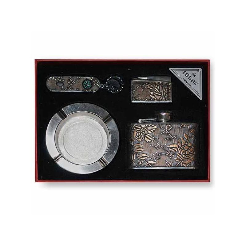 Luxusná ploskačka, zapaľovač, popolník a prívesok na kľúče