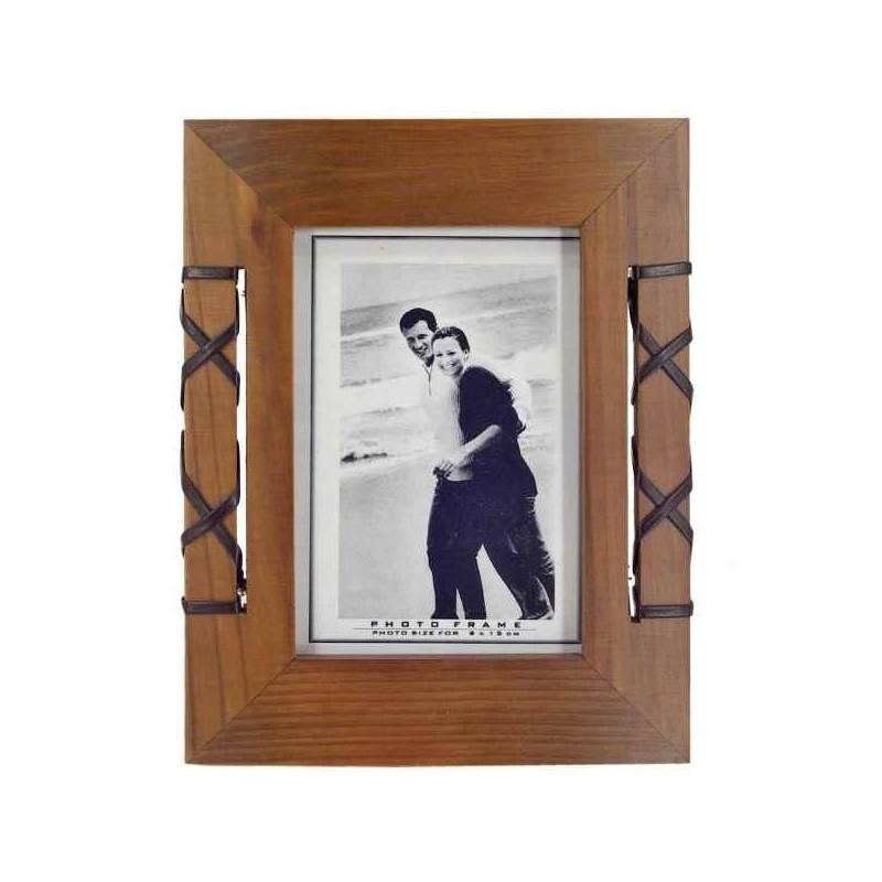 Rámik na fotky - drevo, koženka