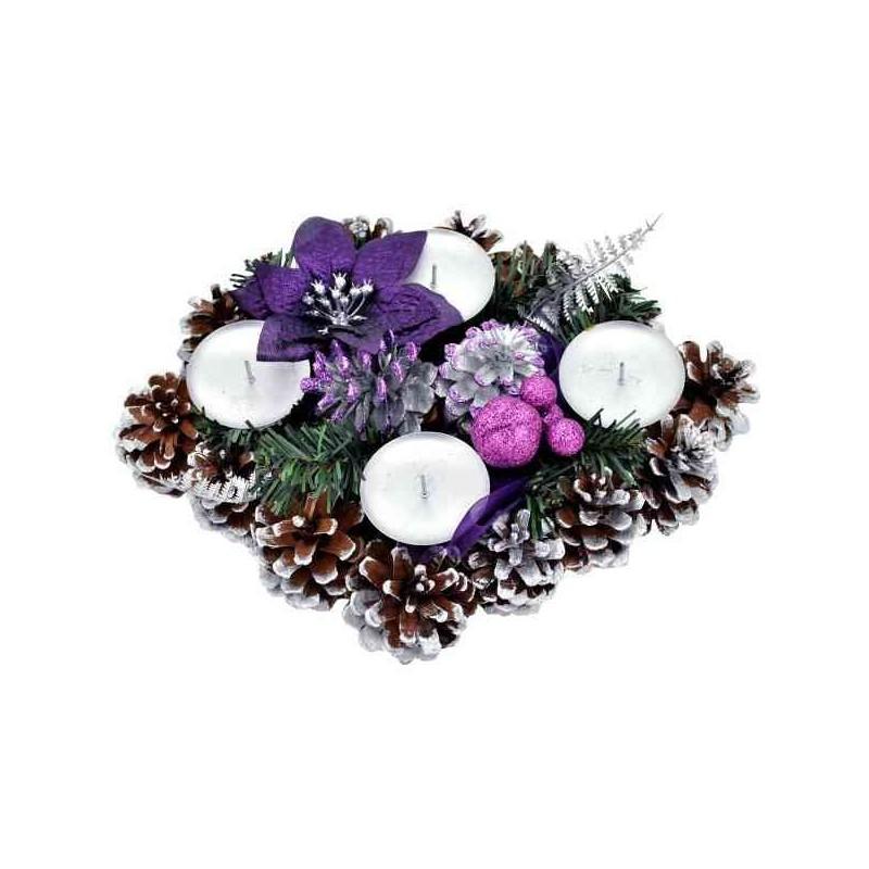 Vianočný adventný svietnik fialový - obdĺžnik
