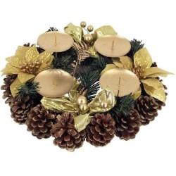 Vianočný veniec na štyri sviečky zlatý