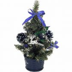 Malý modrý zdobený stromček