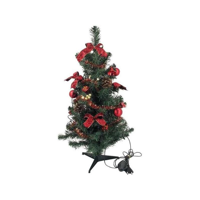 Zdobený stromček s LED svetielkami - červený