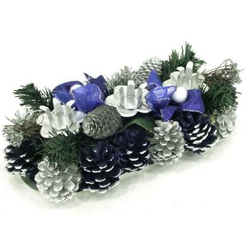 Modrý vianočný svietnik na tri sviece