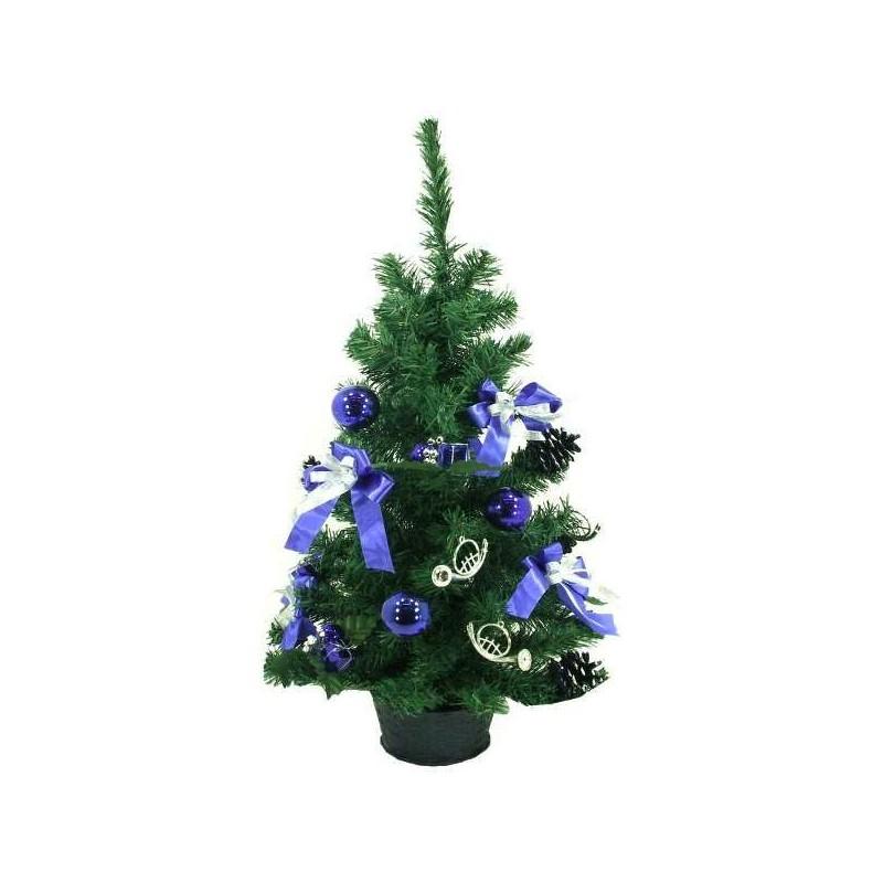Modrý zdobený vianočný stromček výška 75 cm