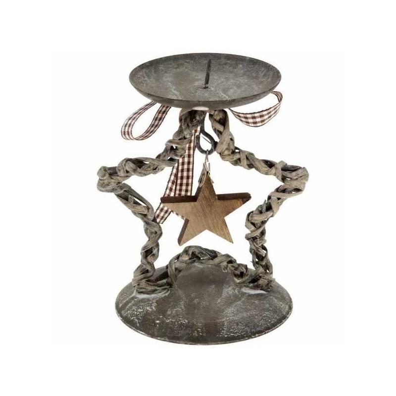 Vianočný svietnik hviezdička - tmavý 10 x 15 cm