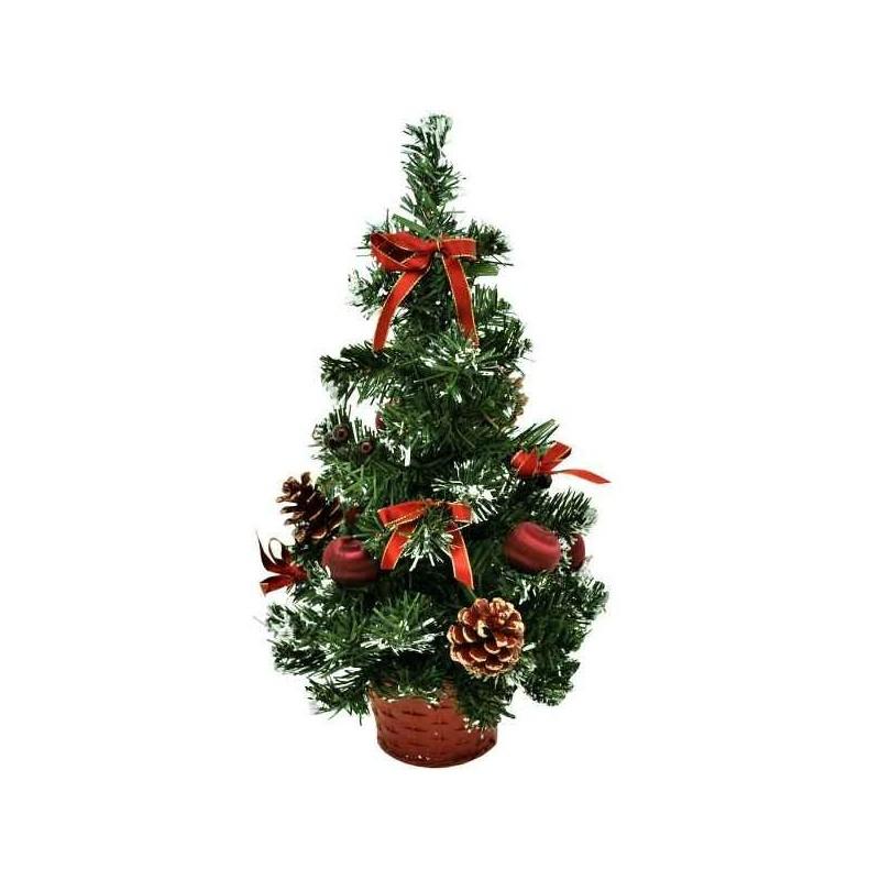 Bordový umelý vianočný stromček zdobený 40 cm
