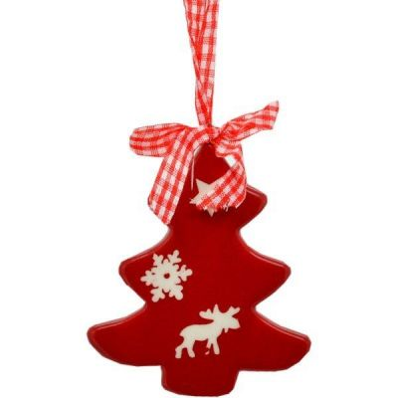 Vianočný keramický zvonček červený 8 cm