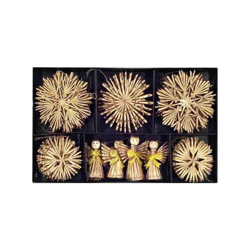 Slamené vianočné ozdoby zlaté 26 kusov