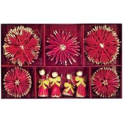 Slamené dekorácie na stromček červená farba 26 kusov