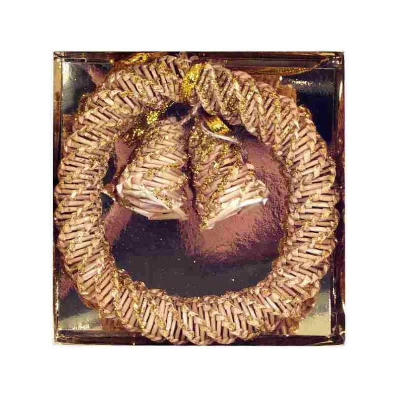 Slamené zvončeky na zavesenie - zlatá farba 13 cm