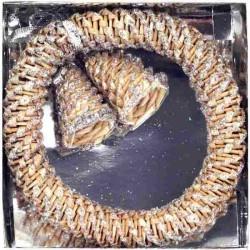 Závesné slamené zvončeky v kruhu strieborné - 13 cm