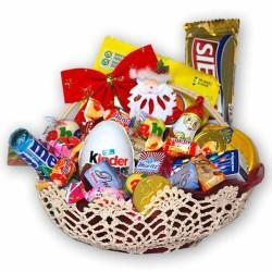Háčkovaný košík so sladkosťami na Mikuláša