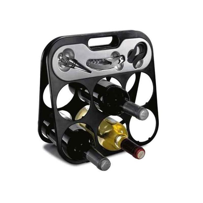 Moderný stojan na víno s príslušenstvom
