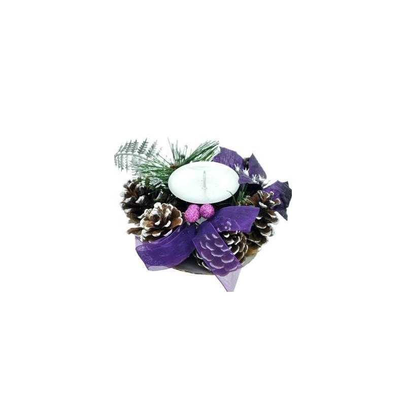 Vianočný svietnik na jednu sviečku - fialový
