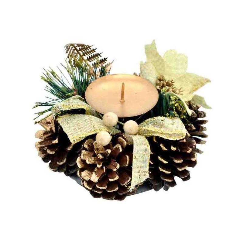 Malý adventný svietnik na jednu sviečku - zlatý