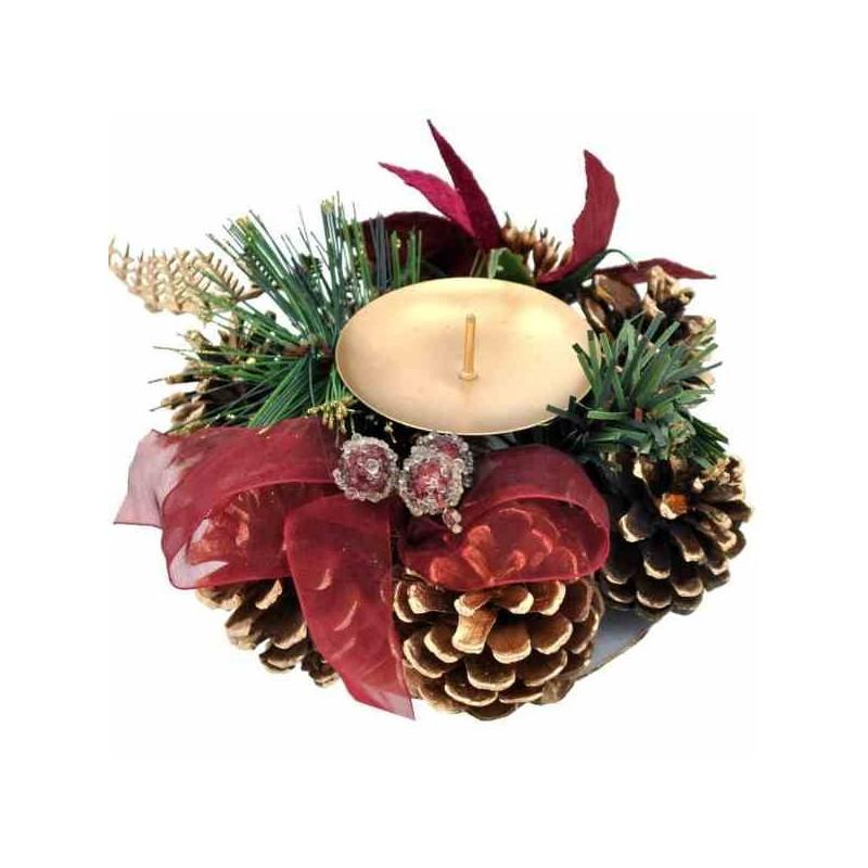 Vianočný svietnik na jednu sviečku - červený