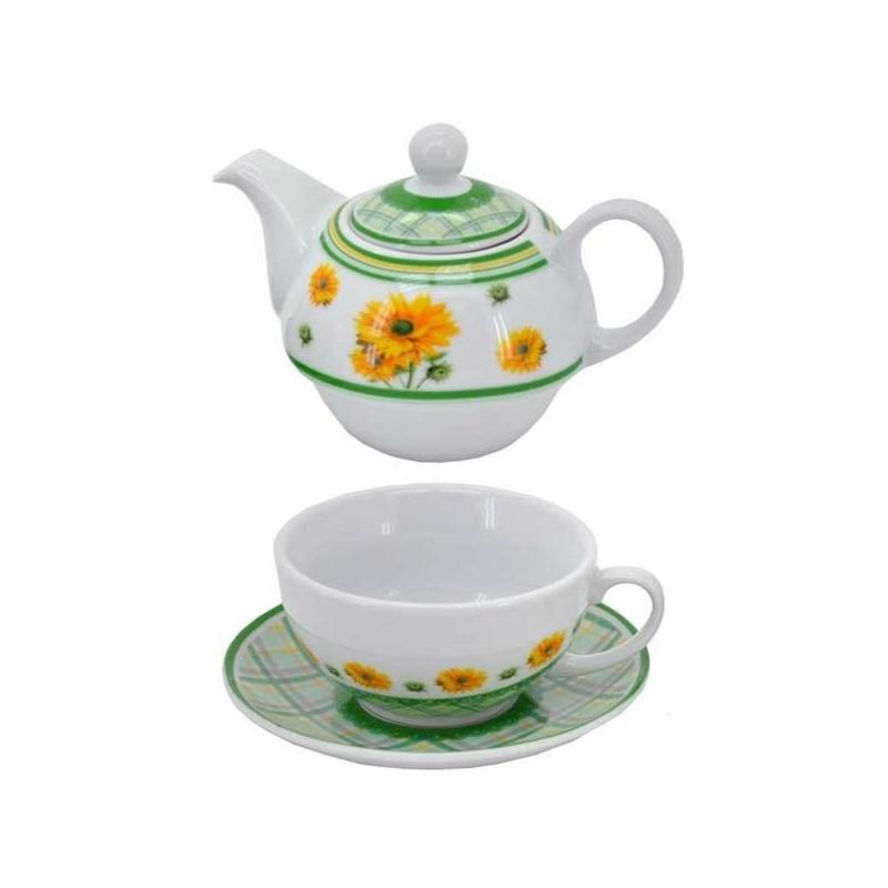 Keramická súprava na čaj s motívom slnečnice