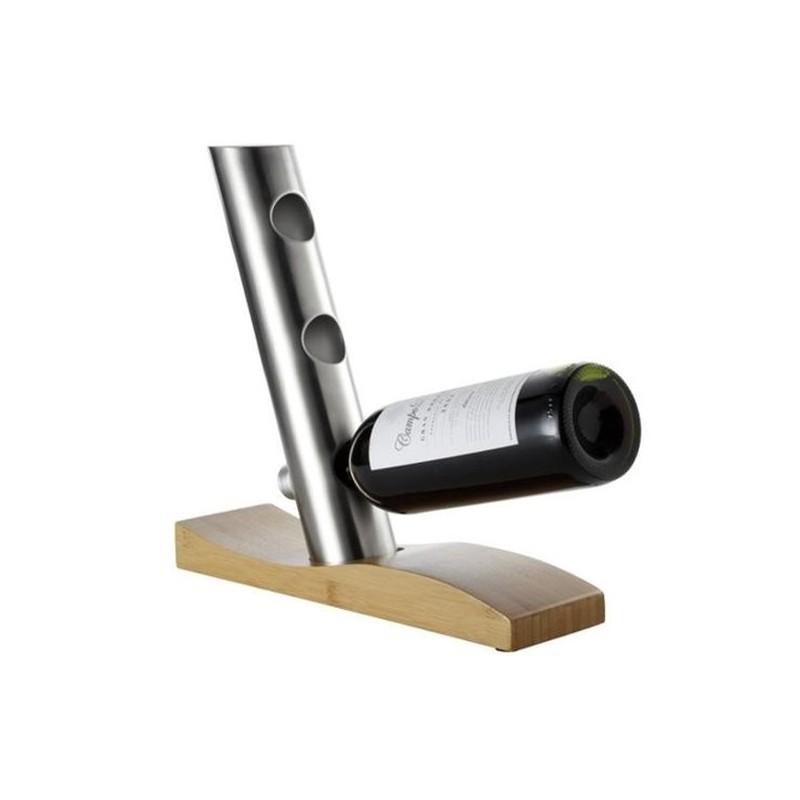 Designový stojan na vína - drevo, nerez