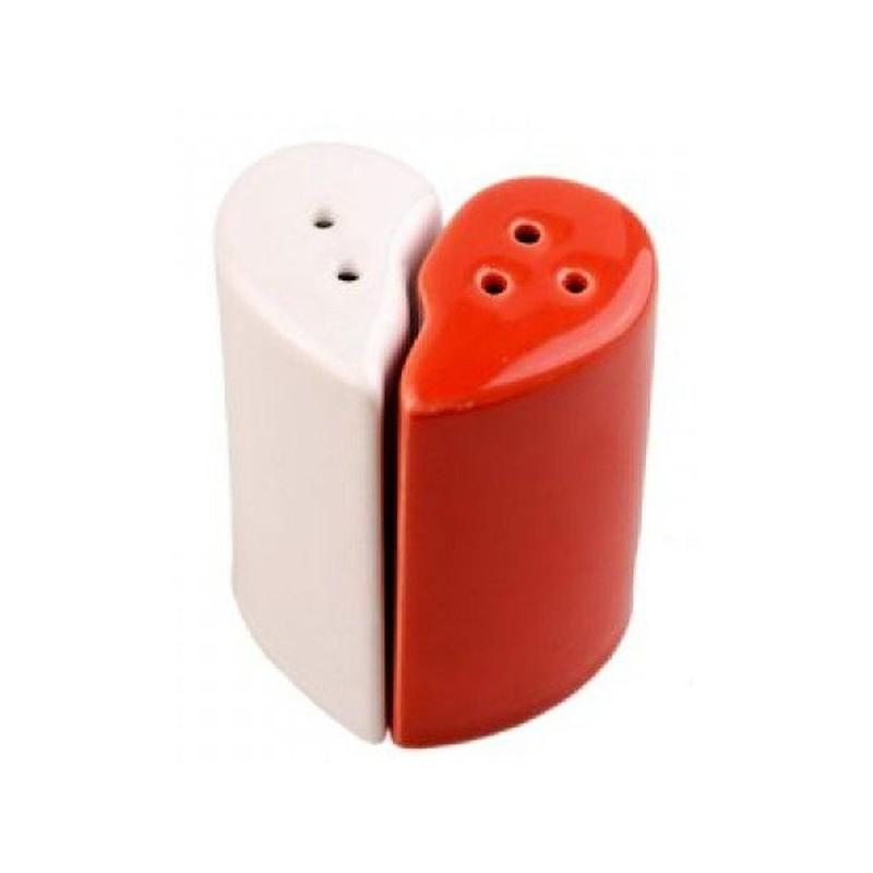 Srdiečko - bielo červená soľnička s koreničkou