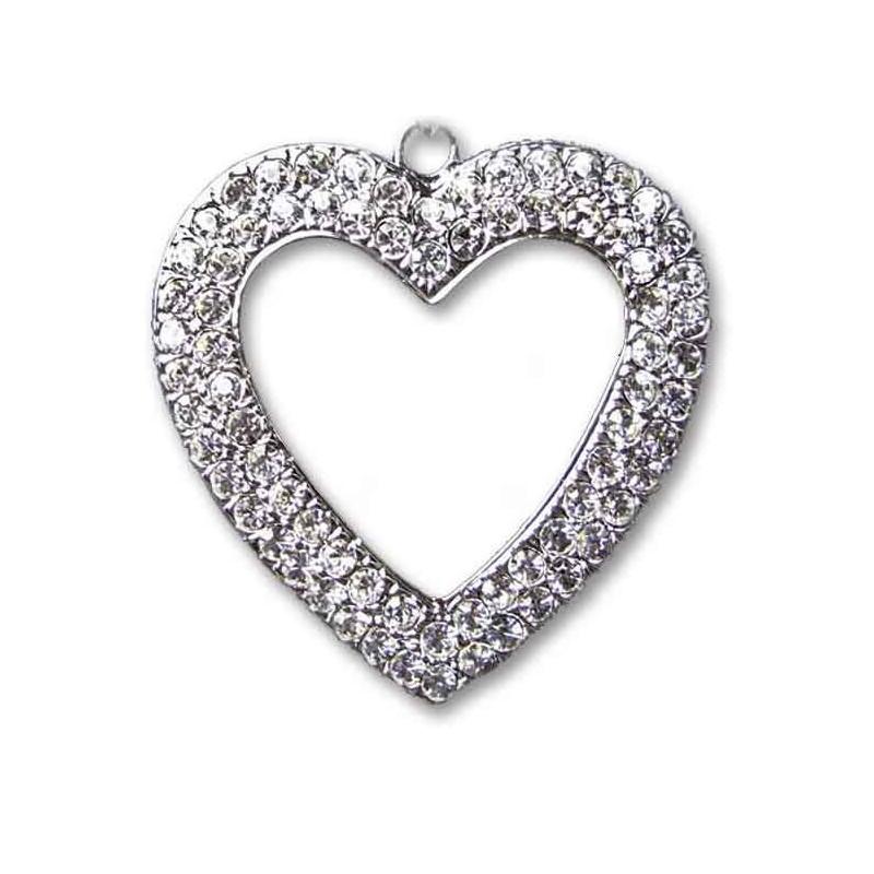 Štrasový náhrdelník srdce vykladaný kamienkami