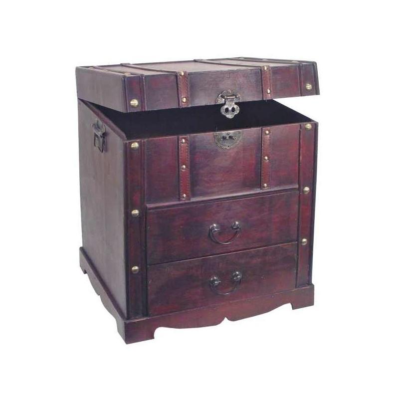 Drevená truhlica so zásuvkami