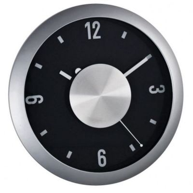 Nástenné hodiny strieborno čierne