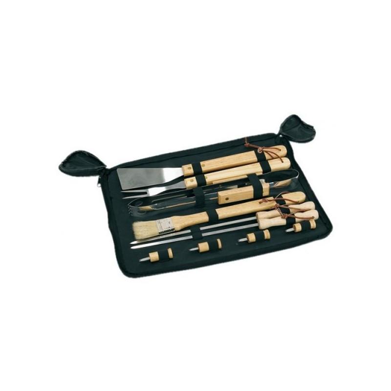 Desať dielna sada na grilovanie s drevenými rúčkami