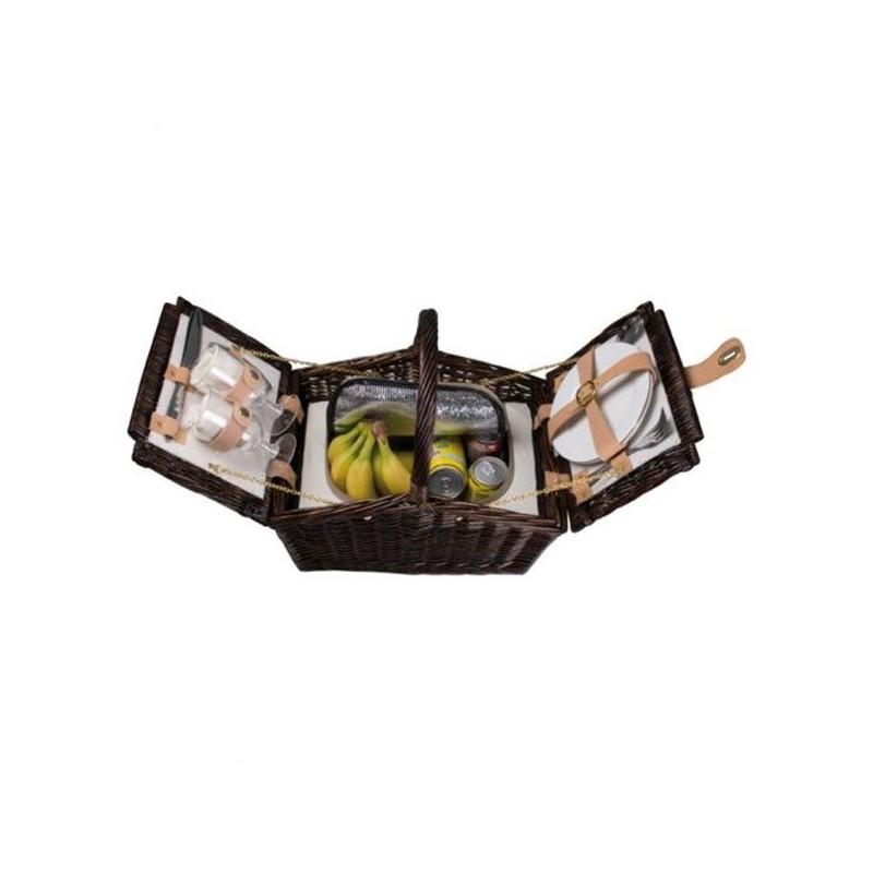 Termo kôš na piknik z tmavého prútia pre dve osoby