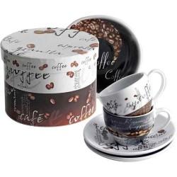 Porcelánová kávová sada - 2 hrnčeky s podšálkami