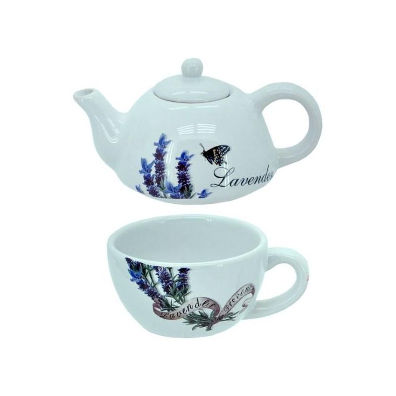 Čajník s hrnčekom s motívom levandule