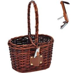 Prútený košík na dve vína s čašníckym nožíkom