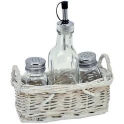 Prútený košík so soľničkou, koreničkou a nádobou na olej